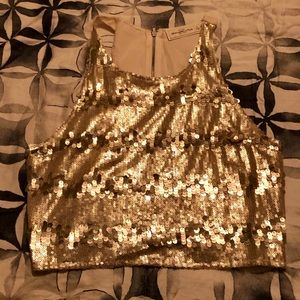 Abercrombie And Fitch Gold Sequin Top